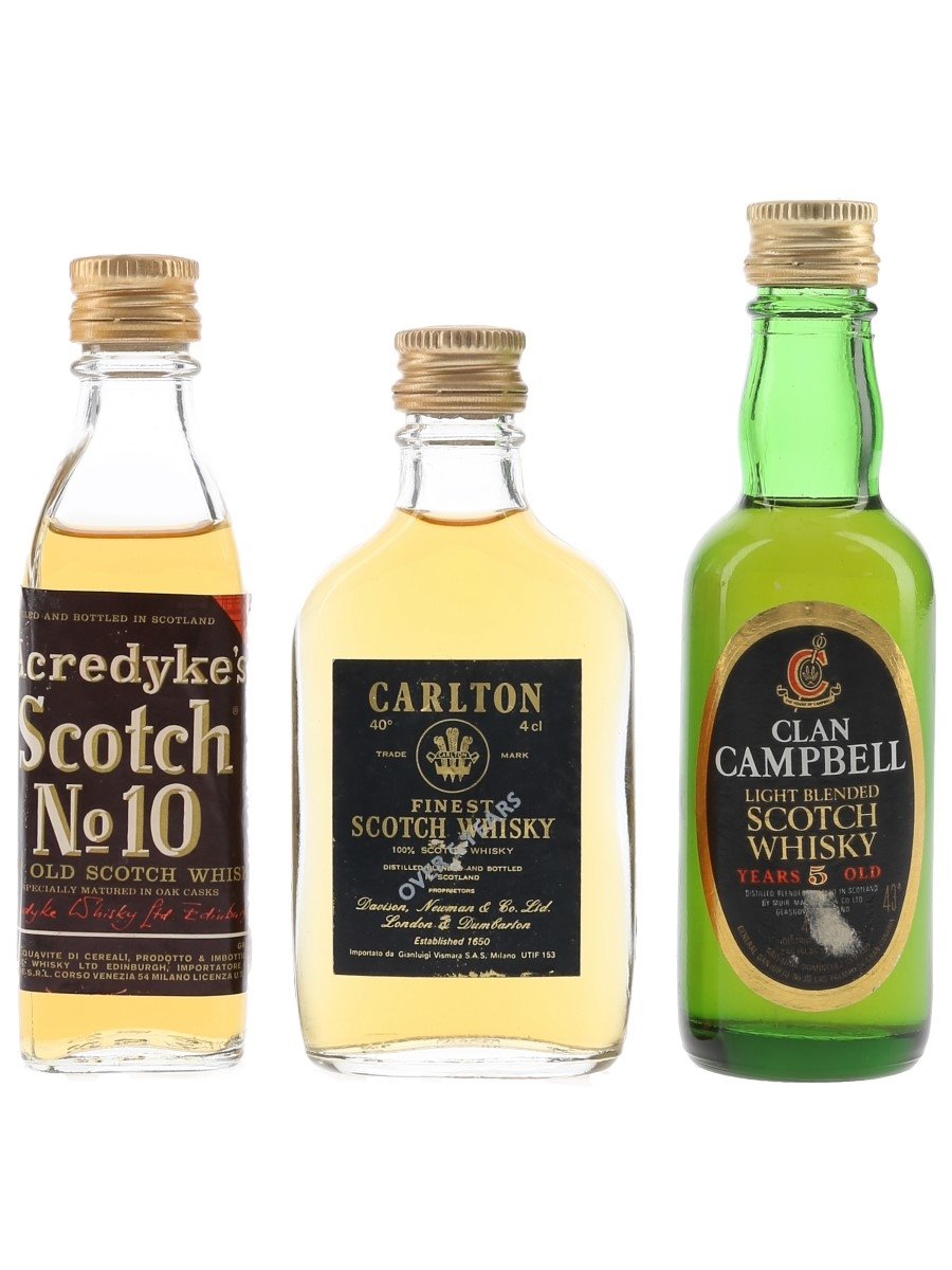 Acredyke, Carlton & Clan Campbell Bottled 1980s 3 x 4cl-5cl