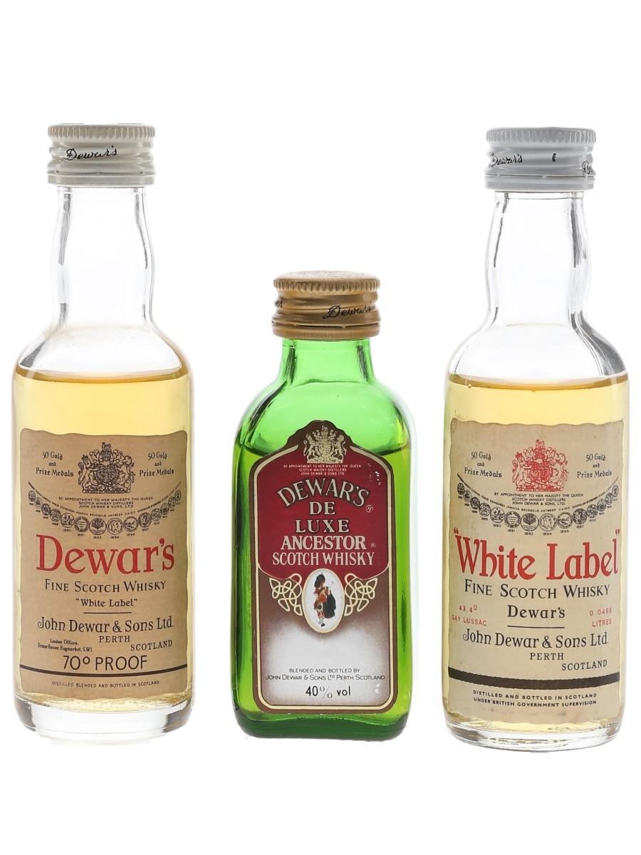 Dewar's De Luxe & White Label Bottled 1970s & 1980s 3 x 4.6cl-5cl