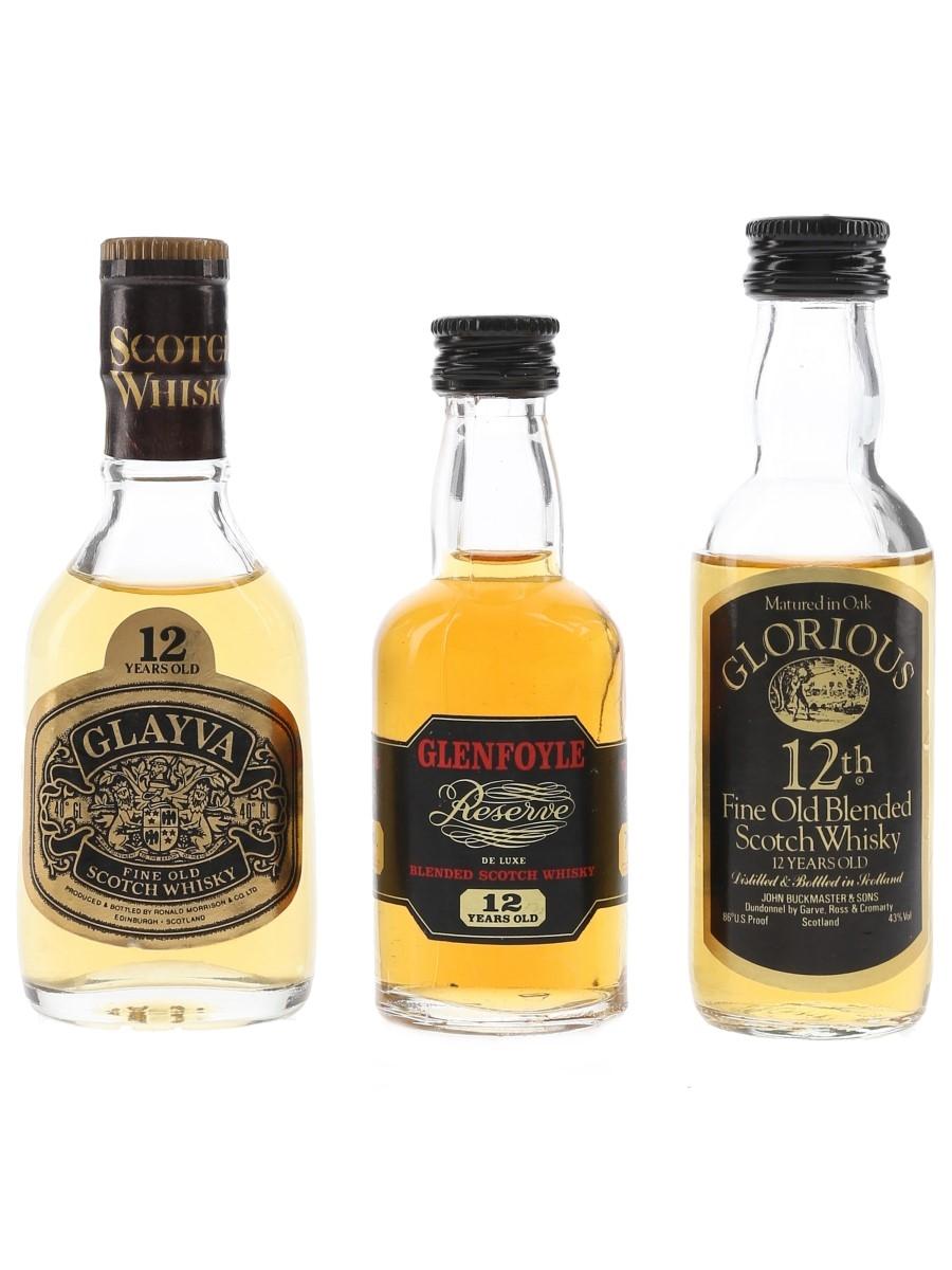 Glayva, Glenfoyle & Glorious 12 Year Old Bottled 1970s 3 x 4cl-5cl