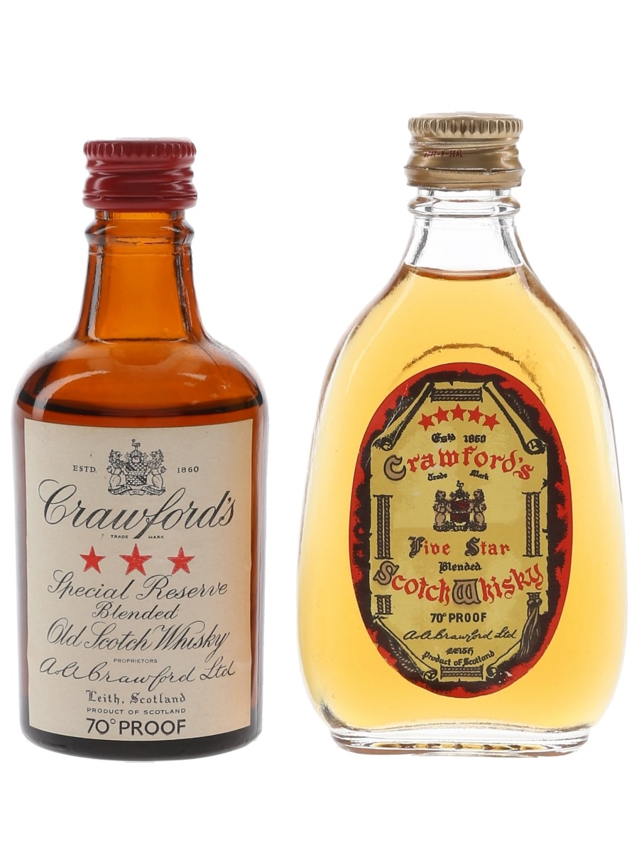 Crawford's 3 & 5 Star Bottled 1960s 2 x 5cl / 40%