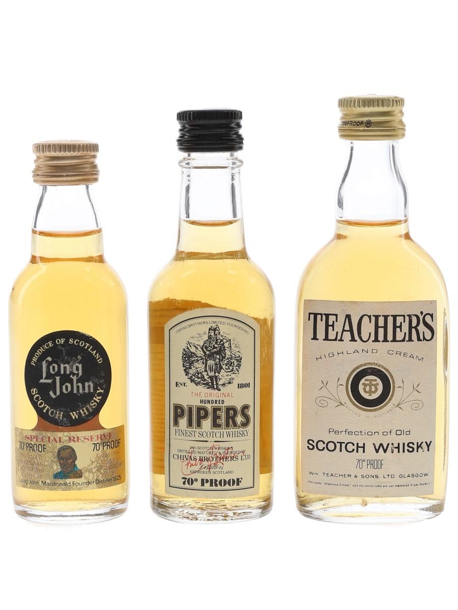 Hundred Pipers, Long John & Teacher's Bottled 1970s 3 x 5cl / 40%