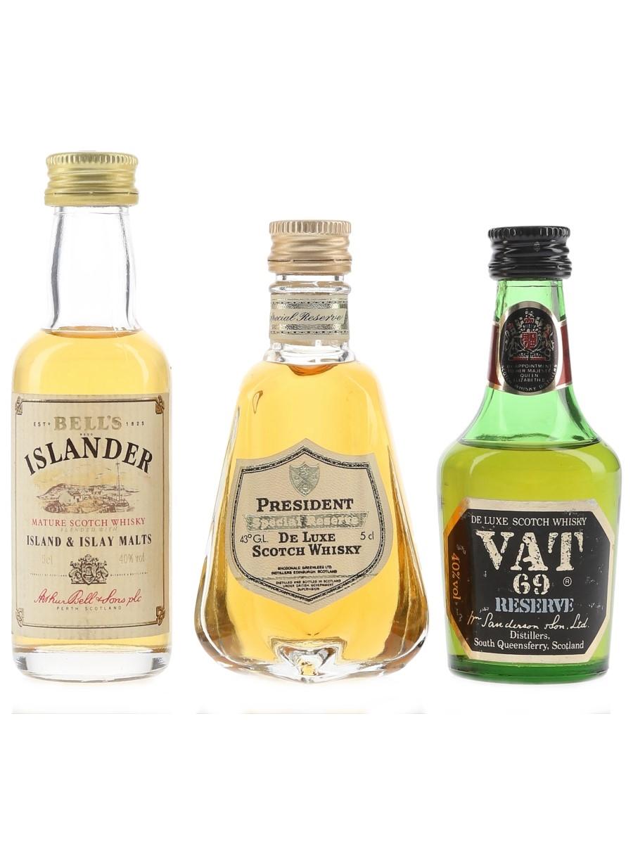 Bell's Islander, President & VAT 69 Bottled 1980s 3 x 5cl