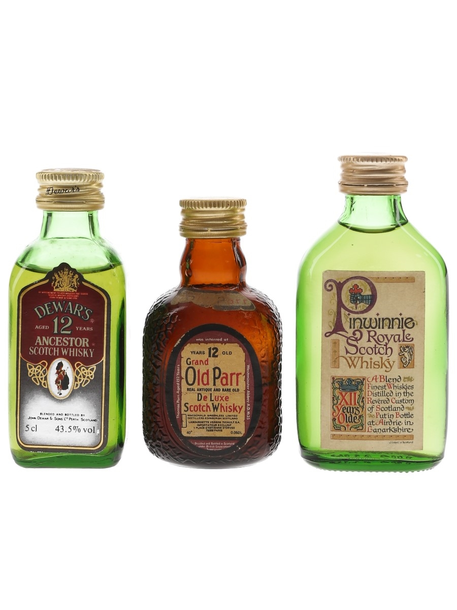 Dewar's Ancestor, Grand Old Parr & Pinwinnie 12 Year Old Bottled 1970s & 1980s 3 x 5cl