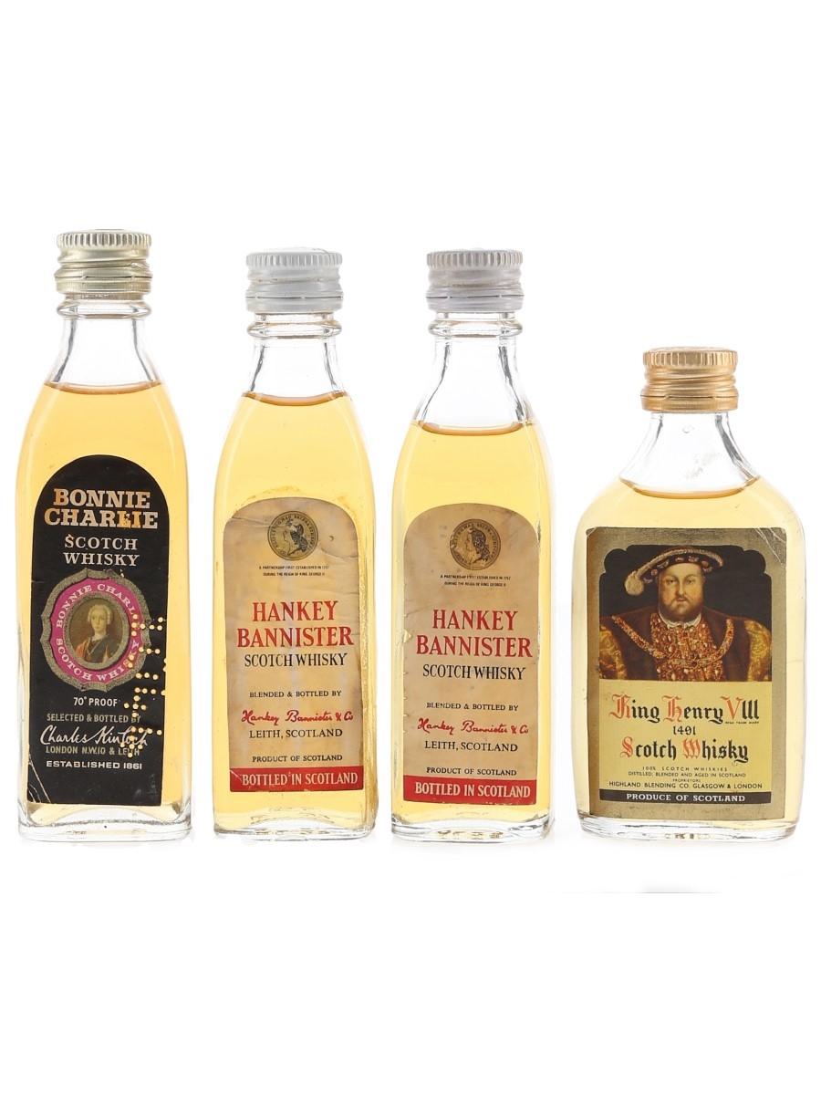 Bonnie Charlie, Hankey Bannister & King Henry VIII Bottled 1970s 4 x 5cl / 40%