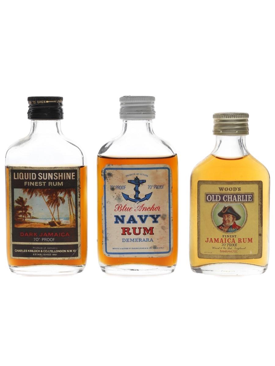 Blue Anchor, Liquid Sunshine & Wood's Bottled 1960s & 1970s 3 x 5cl / 40%
