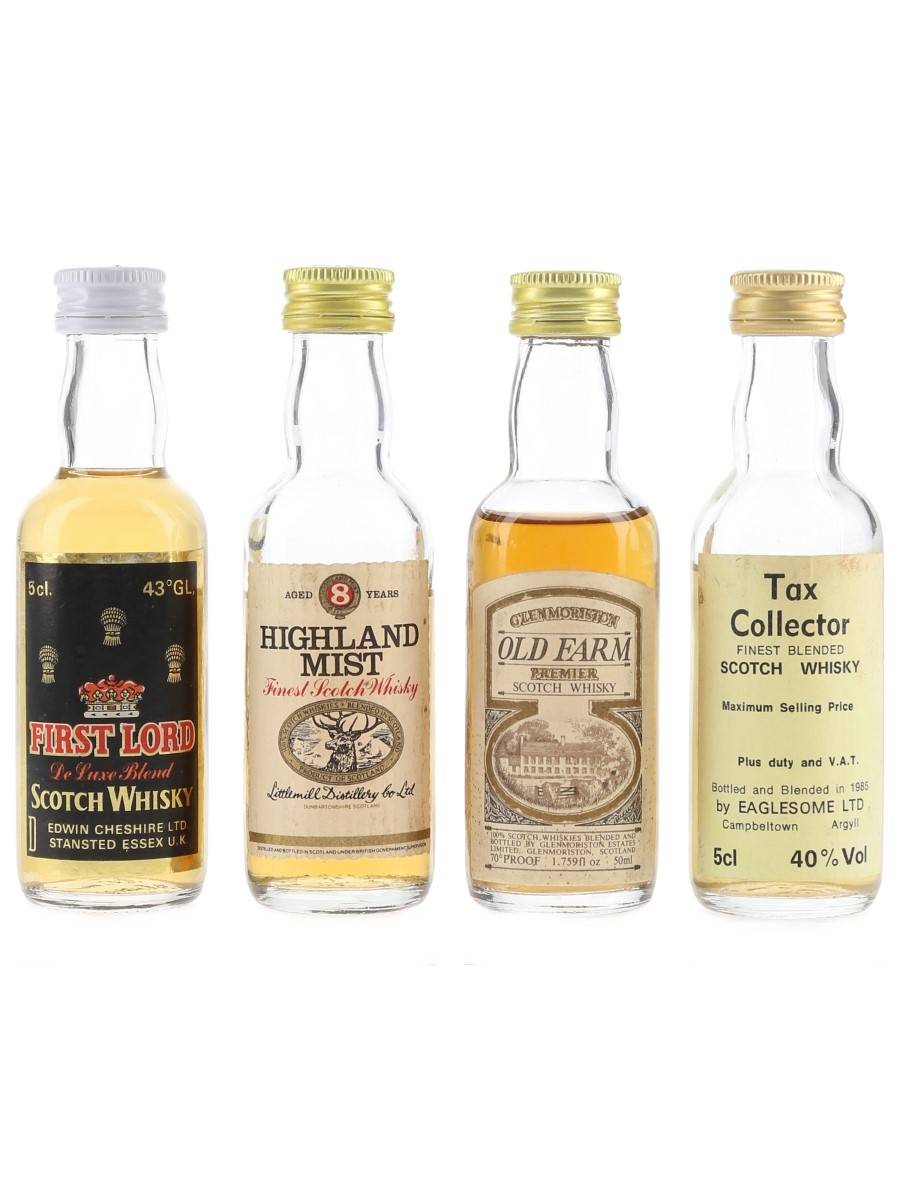 First Lord, Highland Mist, Old Farm & Tax Collector Bottled 1970s-1980s 4 x 5cl