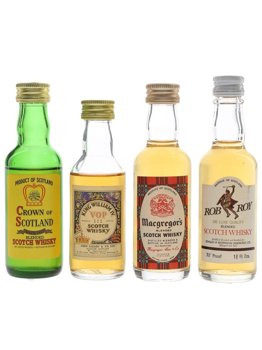 Crown Of Scotland, King William IV VOP, Macgregor's & Rob Roy Bottled 1970s-1980s 4 x 4.7cl-5cl