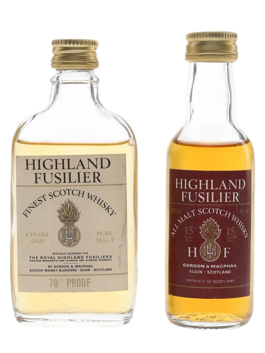 Highland Fusilier 8 & 15 Year Old Bottled 1970s & 1980s - Gordon & MacPhail 2 x 5cl / 40%