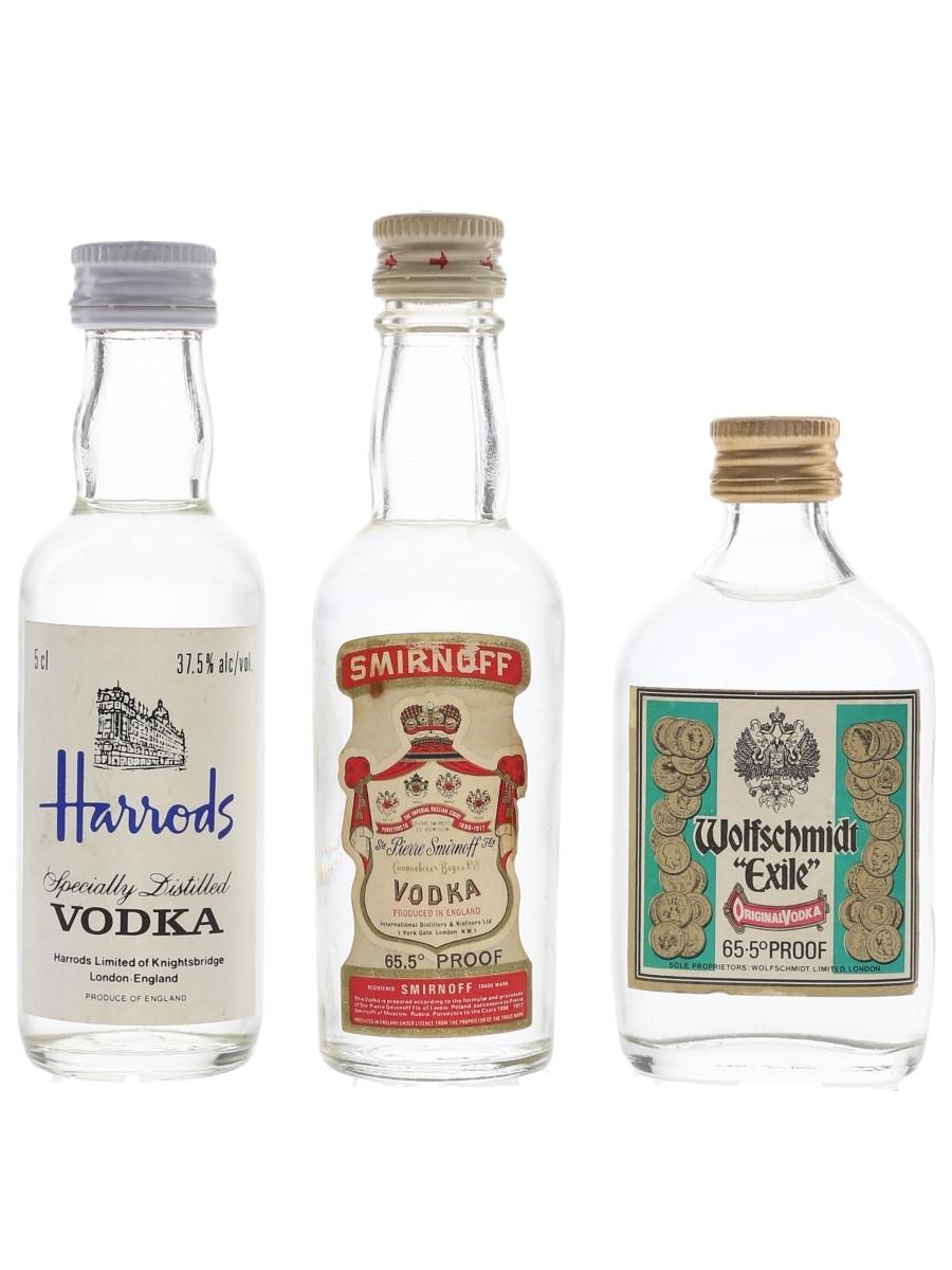 Harrods, Smirnoff & Wolfschmidt Vodka Bottled 1970s & 1980s - England 3 x 5cl / 37.5%