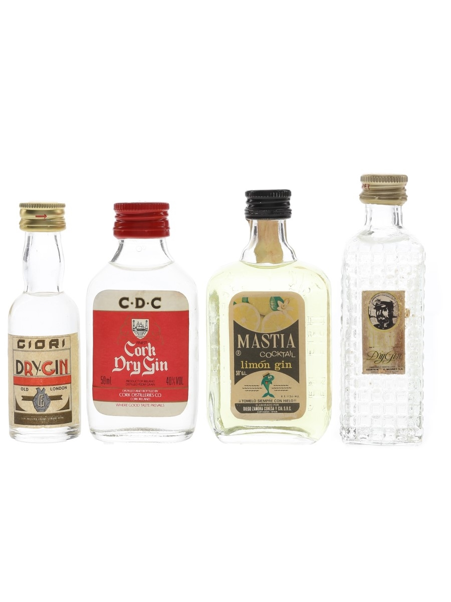 Assorted Gin Bottled 1980s 4 x 5cl