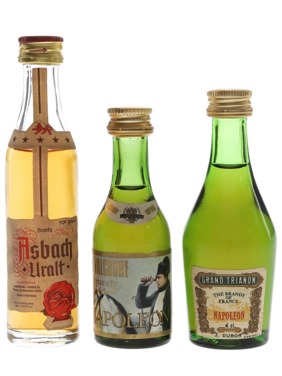 Asbach Uralt, De Valcourt & Grand Trianon Brandy Bottled 1970s 3 x 3.9cl-5cl