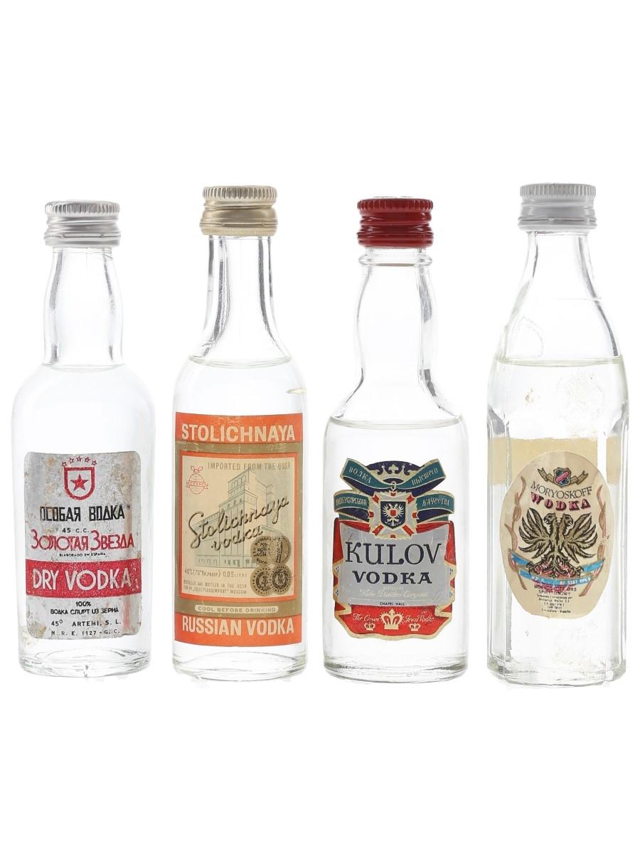 Kulov, Moryoskoff, Stolichnaya & Zolotaja Zvezda Bottled 1970s 4 x 4.5cl-5cl