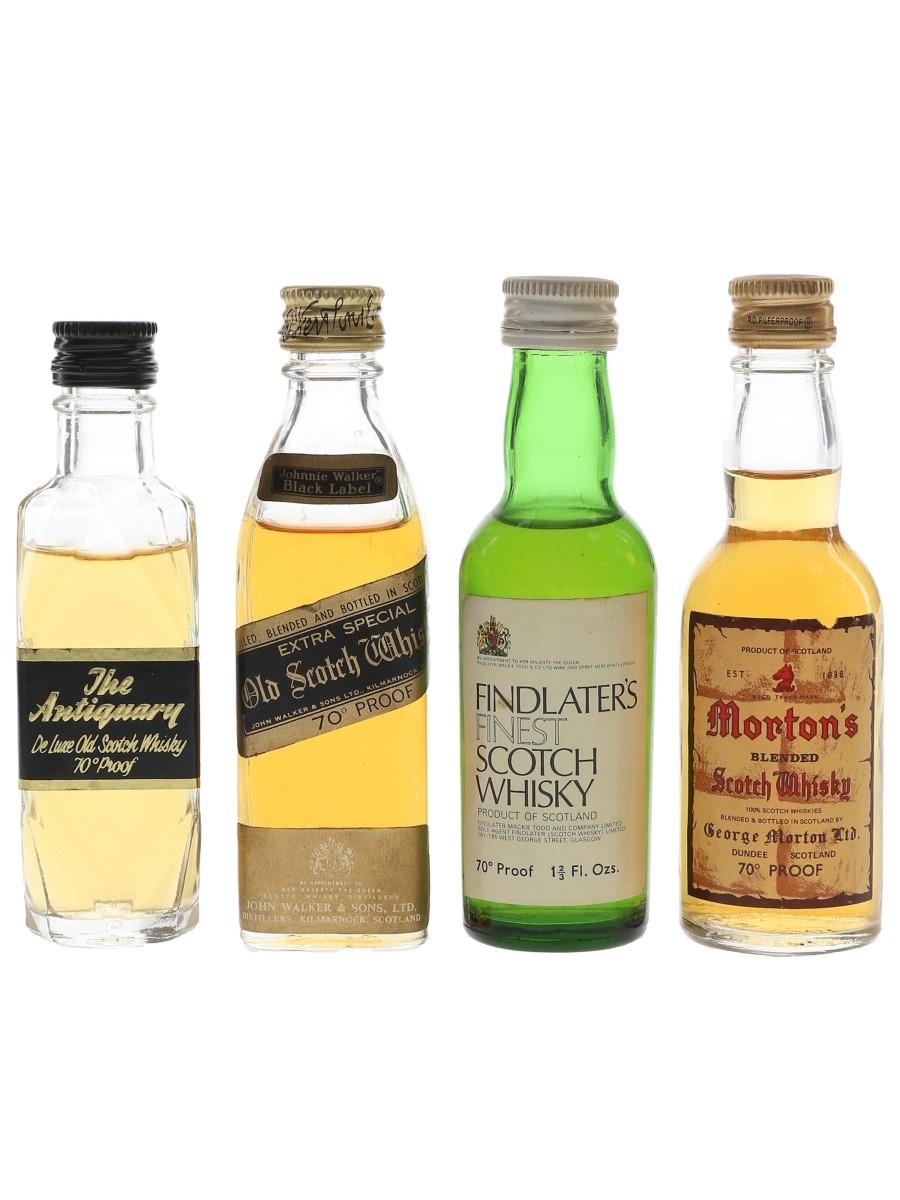 Antiquary, Findlater's, Johnnie Walker Black Label & Morton's Bottled 1970s 4 x 4.7cl-5cl / 40%