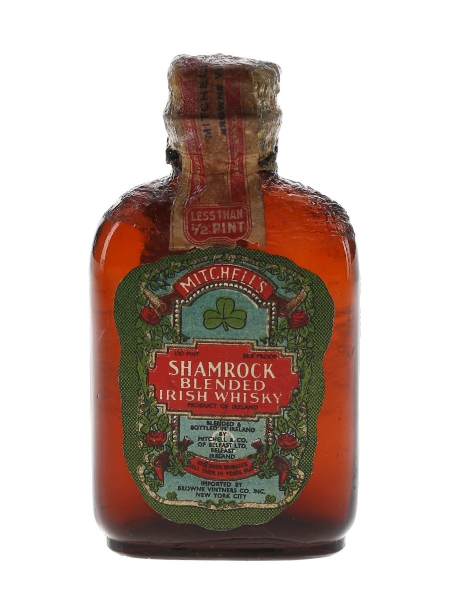 Mitchell's Shamrock 14 Year Old Blended Irish Whisky Bottled 1930s-1940s - Browne Vintners Co. 4.7cl / 43.4%