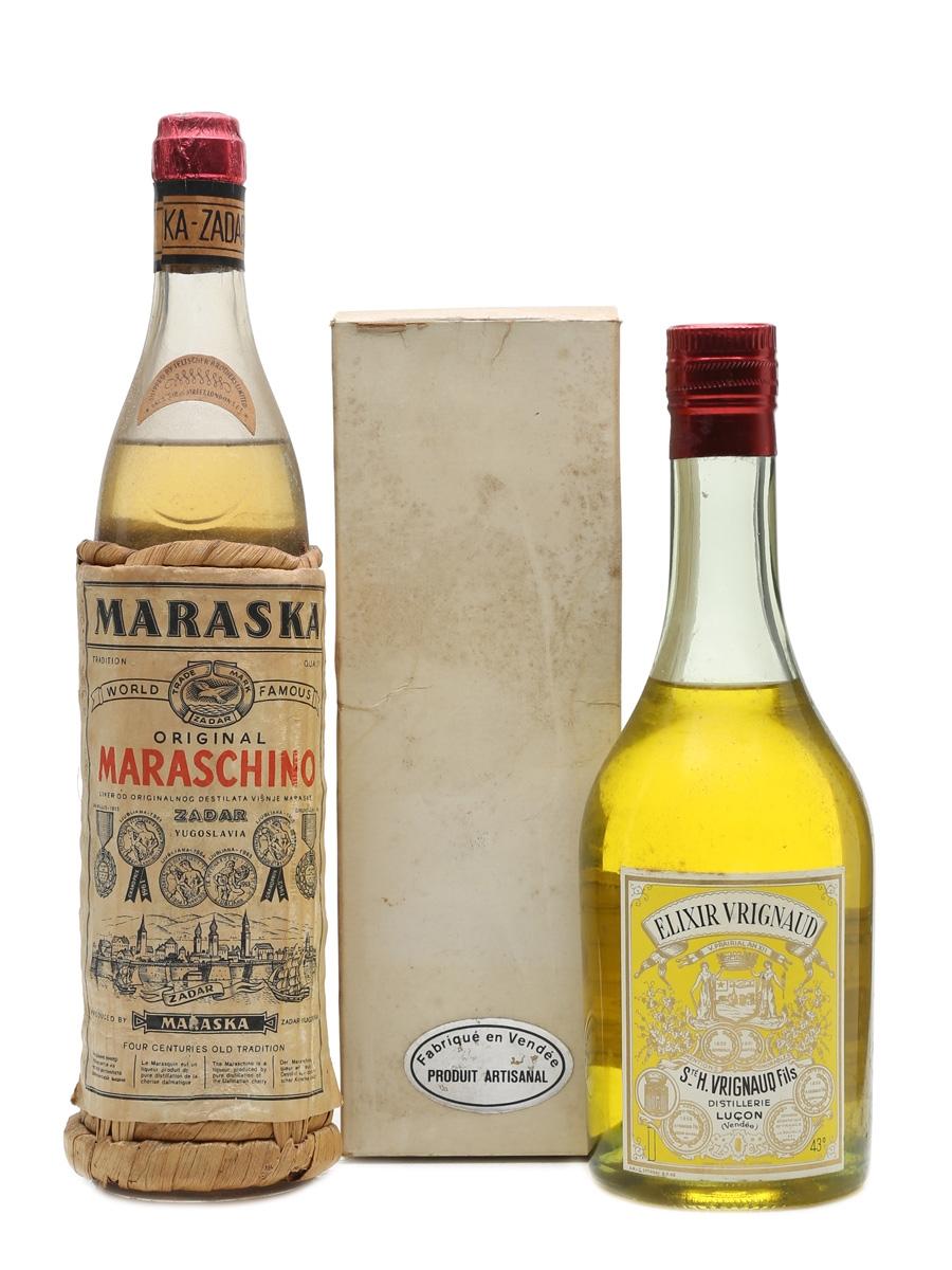 Maraska Maraschino Liqueur & Elixir Vrignaud Bottled 1960-70s 35cl & 50cl