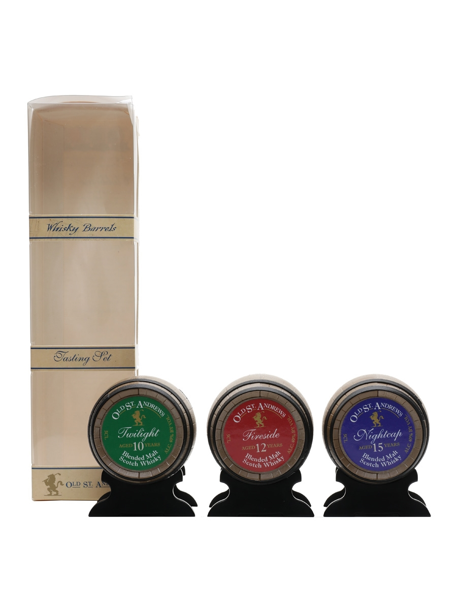 Old St Andrews Whisky Selection Miniature Barrels - 10, 12 & 15 Year Old 3 x 5cl / 40%