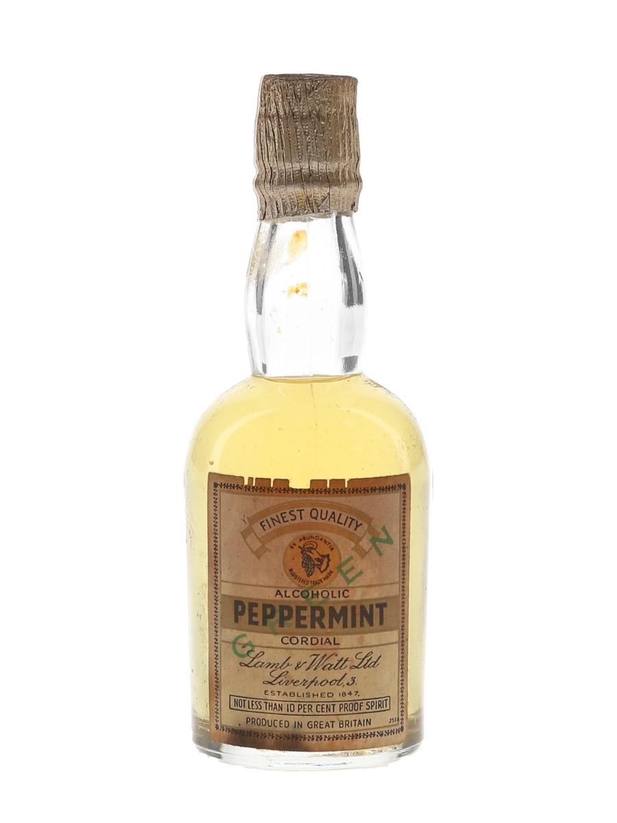 Lamb & Watt Green Peppermint Alcoholic Cordial Bottled 1950s-1960s 5cl / 10%