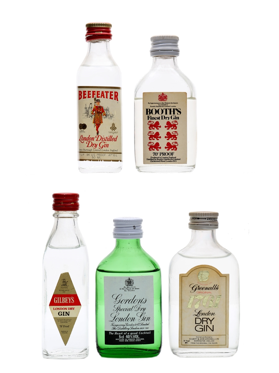 Assorted London Dry Gin Bottled 1970s & 1980s 5 x 5cl