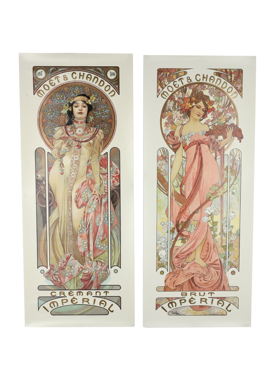Moet & Chandon Brut & Cremant Imperial Posters Alphonse Mucha 65cm x 26cm