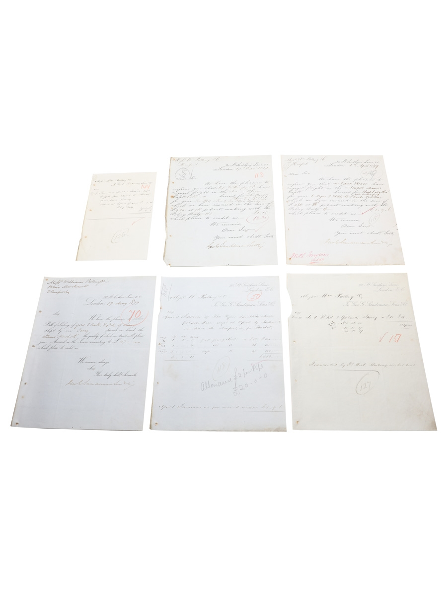 Sandeman Sons & Co. Correspondence & Invoices, Dated 1877 William Pulling & Co.