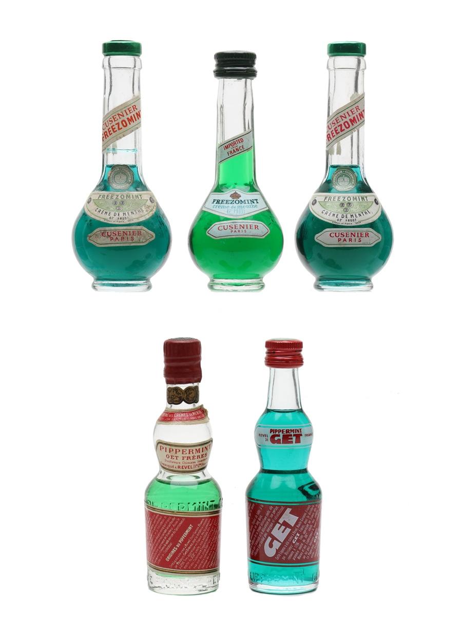 Cusenier Freezomint & Get Pippermint Creme De Menthe Liqueurs Bottled 1960s-1970s 5 x 3cl-5cl