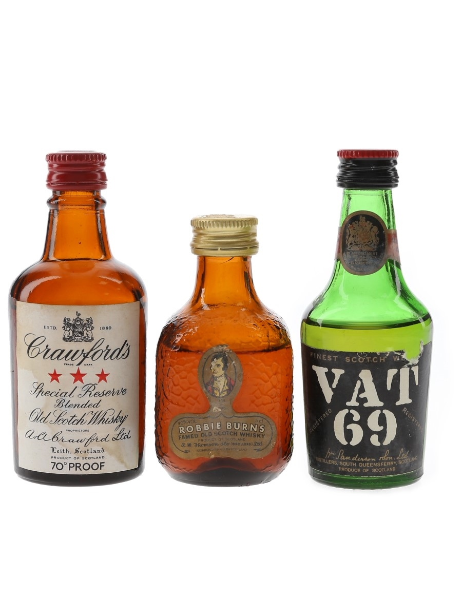 Crawford's, Robbie Burns & Vat 69 Bottled 1960s-1980s 3 x 5cl