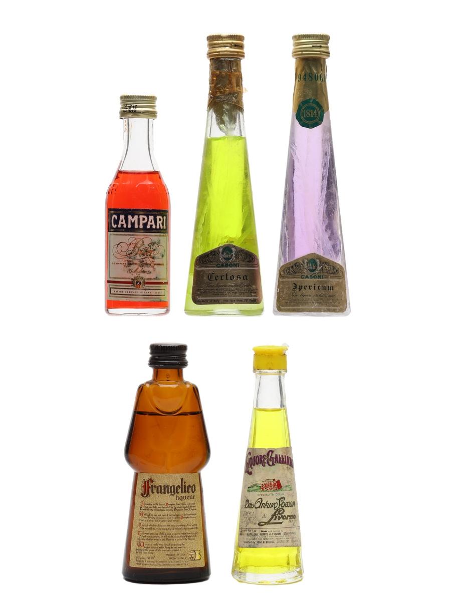 Campari, Casoni, Frangelico & Galliano  5 x 2.8cl-5cl