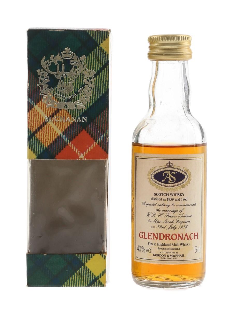 Glendronach Royal Wedding 1959 & 1960 Bottled 1986 - Gordon & MacPhail 5cl / 40%