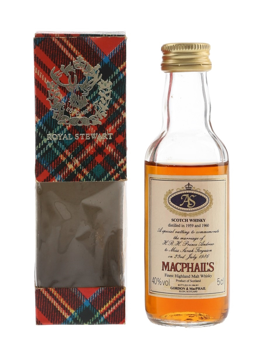 MacPhail's Royal Wedding 1959 & 1960 Bottled 1986 - Gordon & MacPhail 5cl / 40%