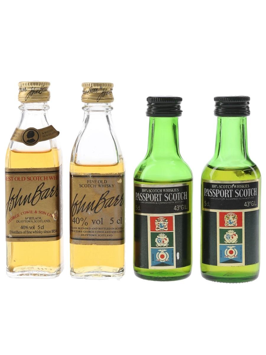 John Barr & Passport Scotch Bottled 1980s 4 x 5cl