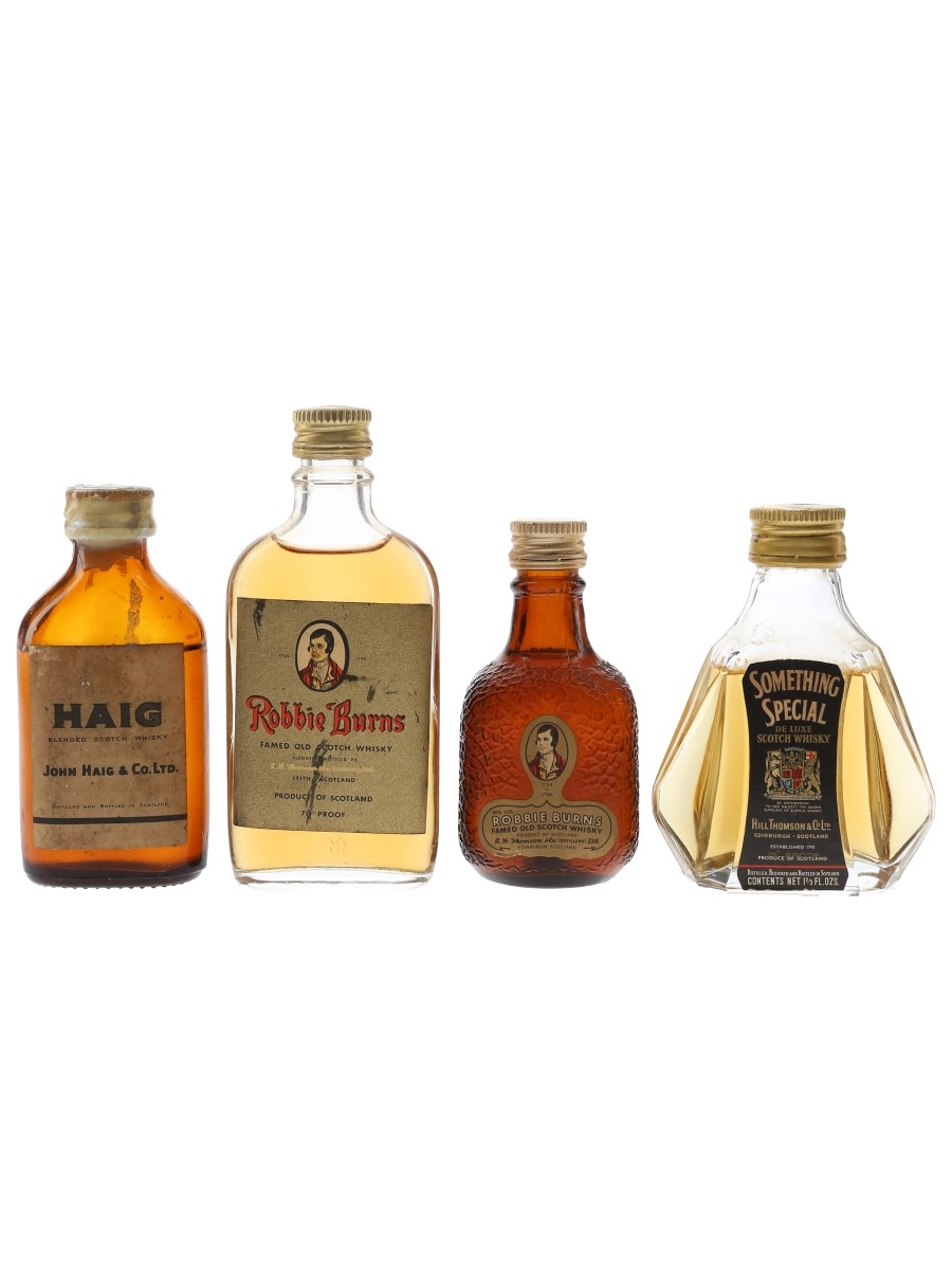 Haig Gold Label, Robbie Burns & Something Special Bottled 1970s 4 x 5cl / 40%