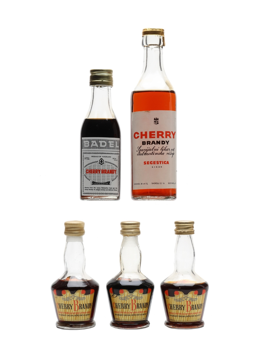 Assorted Cherry Brandy Badel, Segestica, Unicum Likorgyar 5 x 3cl-10cl