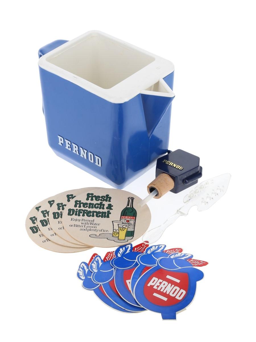 Assorted Pernod Memorabilia Water Jug, Spoon, Coasters & Stickers