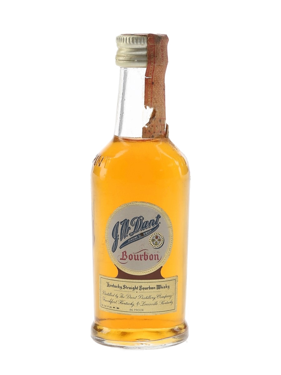 J W Dant Genuine Sour Mash Bourbon Bottled 1970s 5cl / 43%