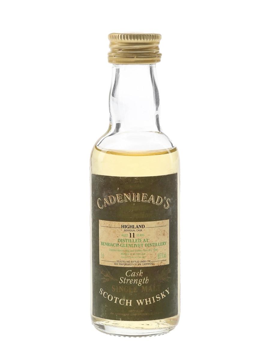 Benriach Glenlivet 1986 11 Year Old Cask Strength Bottled 1998 - Cadenhead's 5cl / 60.7%