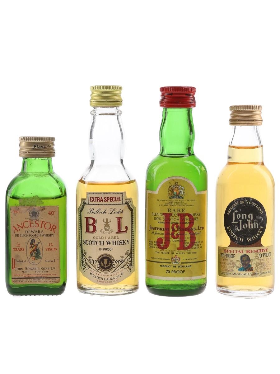 Ancestor, Bulloch Lades, J&B & Long John Bottled 1970s 4 x 5cl / 40%