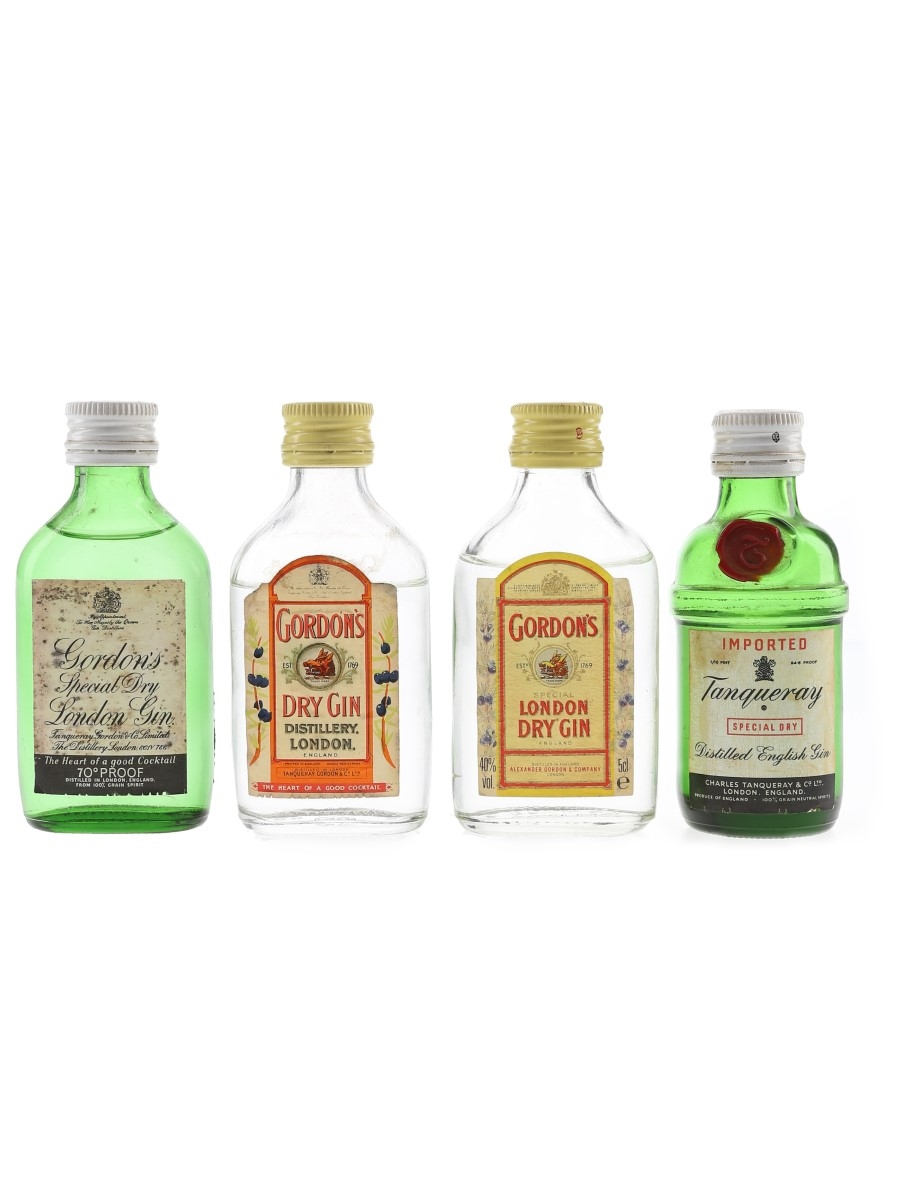 Gordon's & Tanqueray Dry Gin Bottled 1970s & 1980s 4 x 4.7cl-5cl / 40%