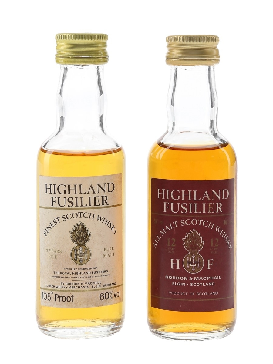 Highland Fusilier 8 & 12 Year Old Pure Malt Bottled 1980s - Gordon & MacPhail 2 x 5cl