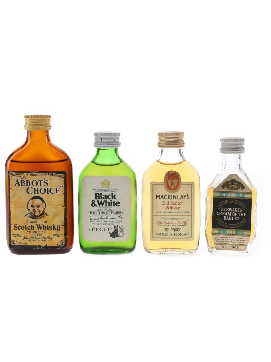 Abbot's Choice, Black & White, Mackinlay's & Stewarts Bottled 1970s 4 x 5cl / 40%