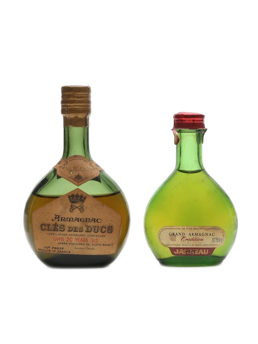 Janneau & Cles Des Ducs Armagnac Bottled 1950s 2 x 5cl