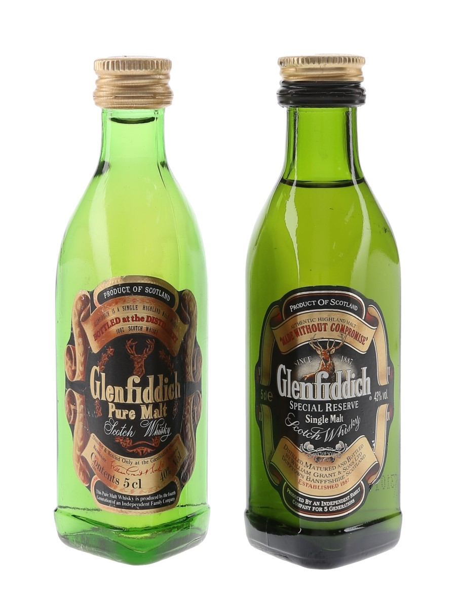 Glenfiddich Special Reserve & Pure Malt Bottled 1980s & 1990s 2 x 5cl
