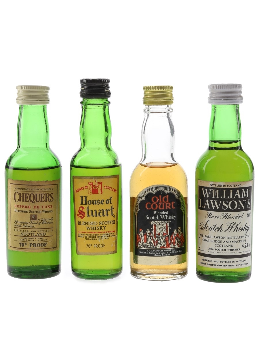 Old Court, Chequers, House Of Stuart & William Lawson's Bottled 1970s & 1980s 4 x 4.7cl-5cl