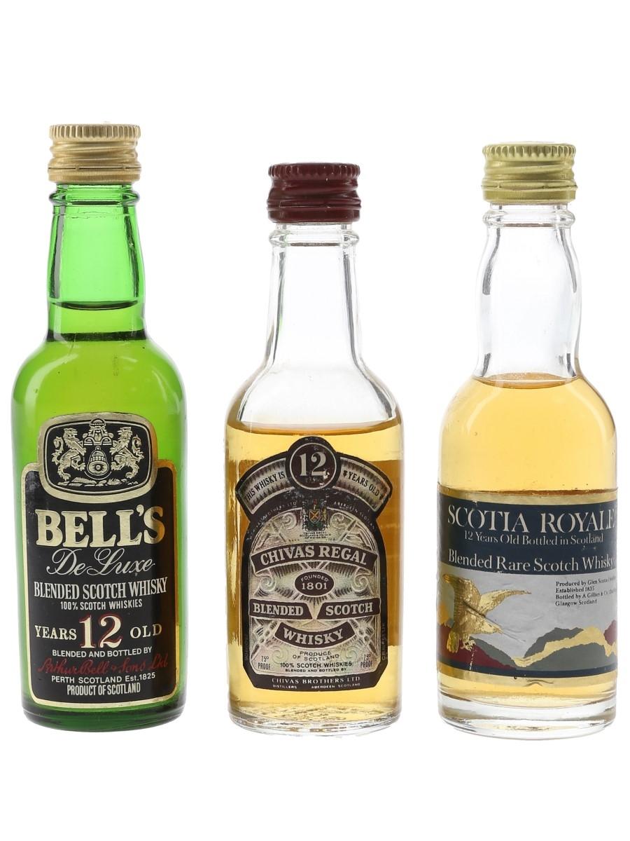Chivas Regal, Bell's & Scotia Royale Bottled 1970s 3 x 5cl