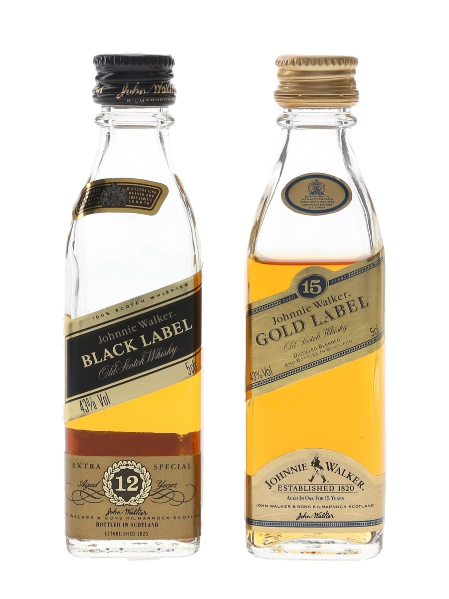Johnnie Walker Black Label & Gold Label 12 Year Old & 15 Year Old 2 x 5cl / 43%