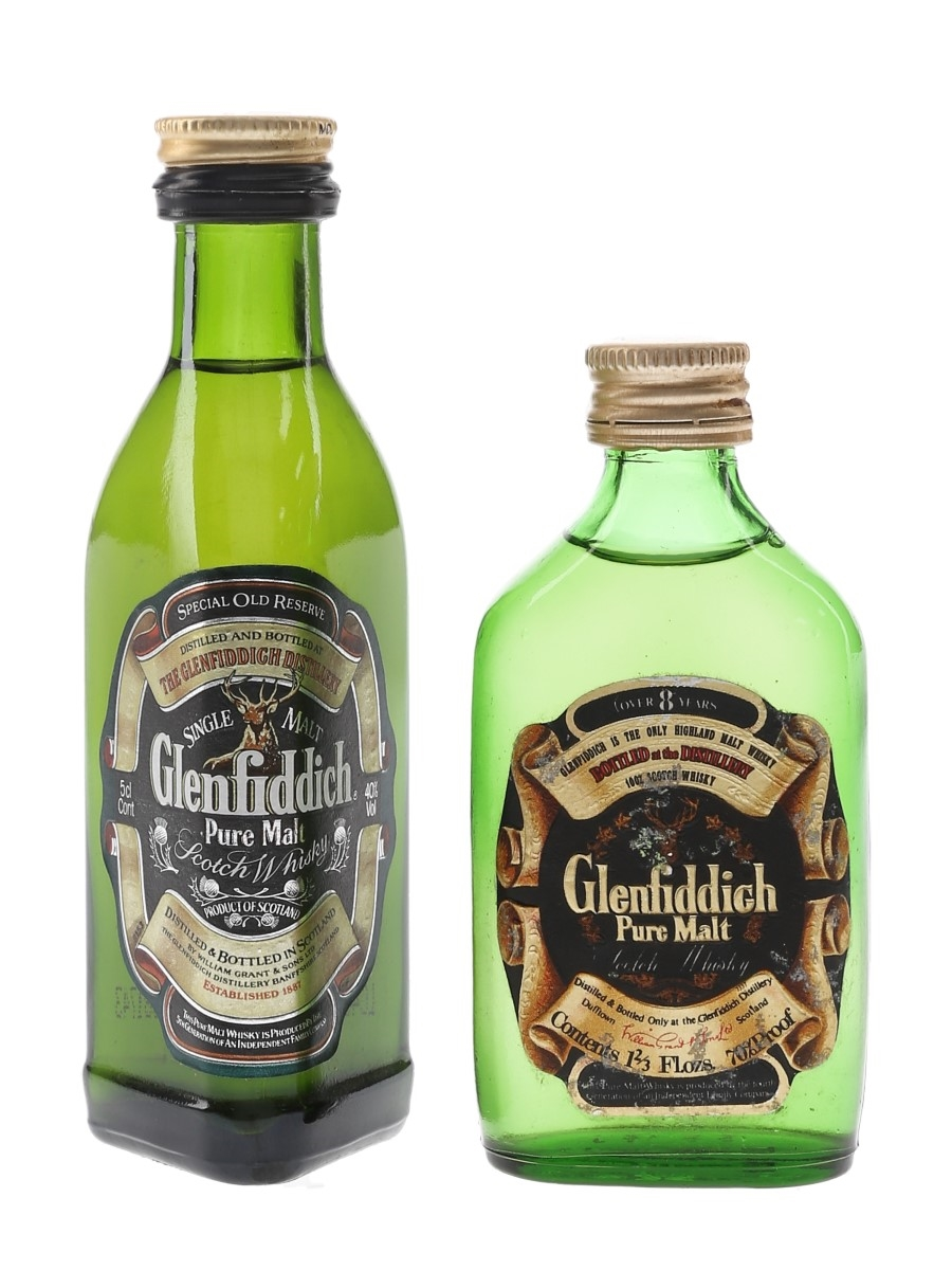 Glenfiddich Special Old Reserve & 8 Year Old Pure Malt Bottled 1970s & 1980s 2 x 4.7cl-5cl / 40%