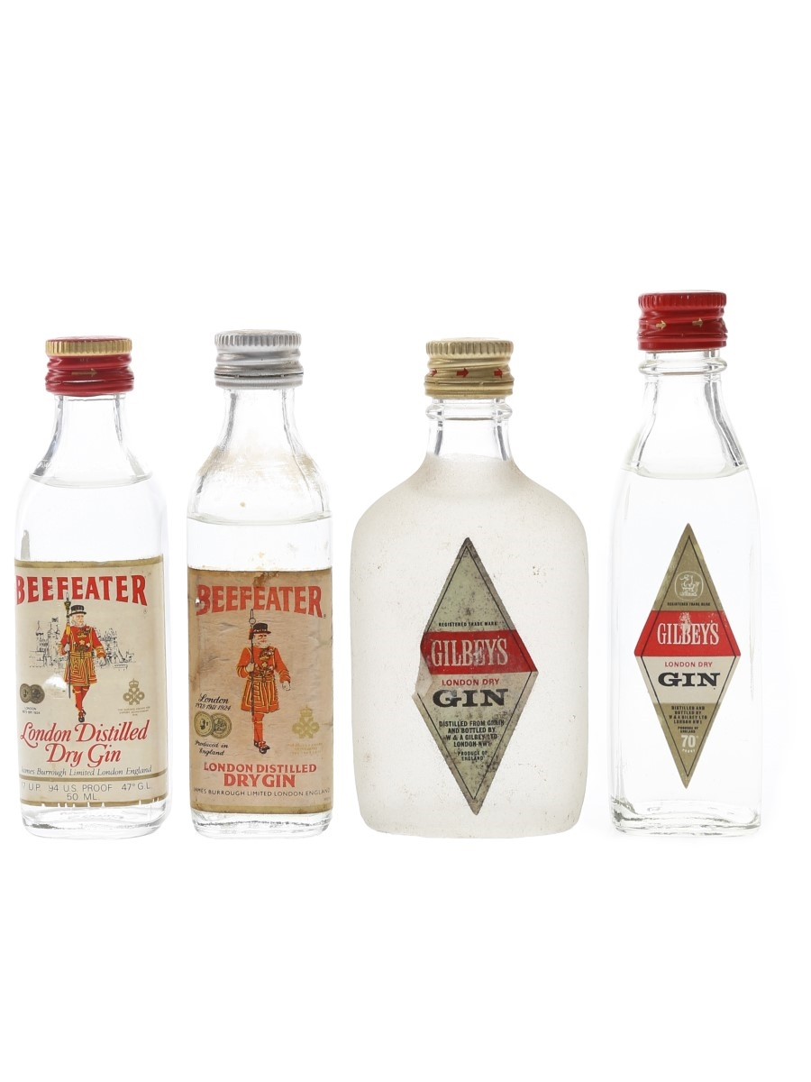 Beefeater & Gilbey's London Dry Gin Bottled 1970s 4 x 5cl / 40%