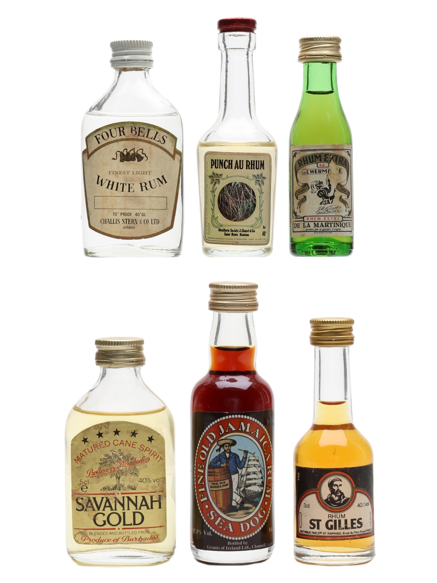 Assorted Rum Bottled 1970s & 1980s 6 x 3cl-5cl