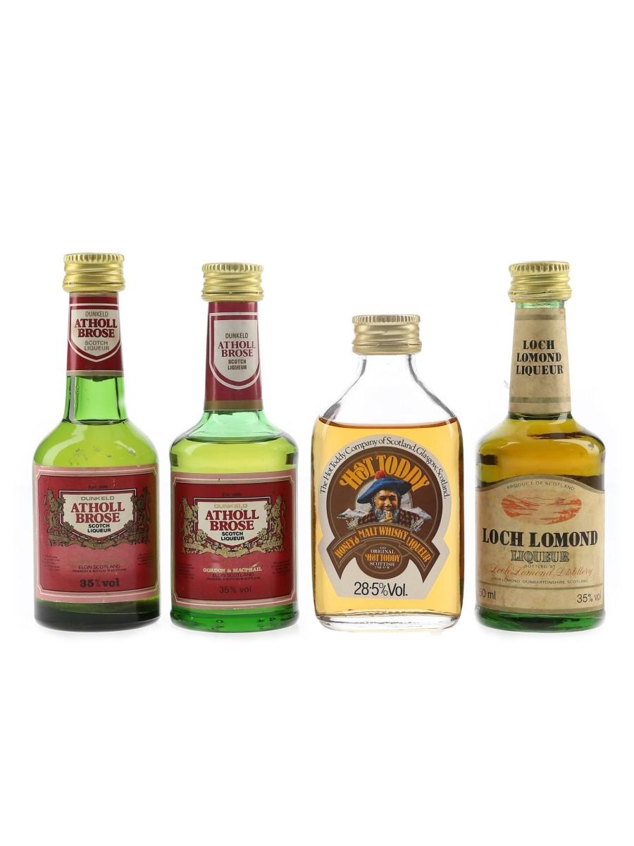 Athol Brose, Hot Toddy & Loch Lomond Liqueurs Bottled 1980s 4 x 3cl - 5cl