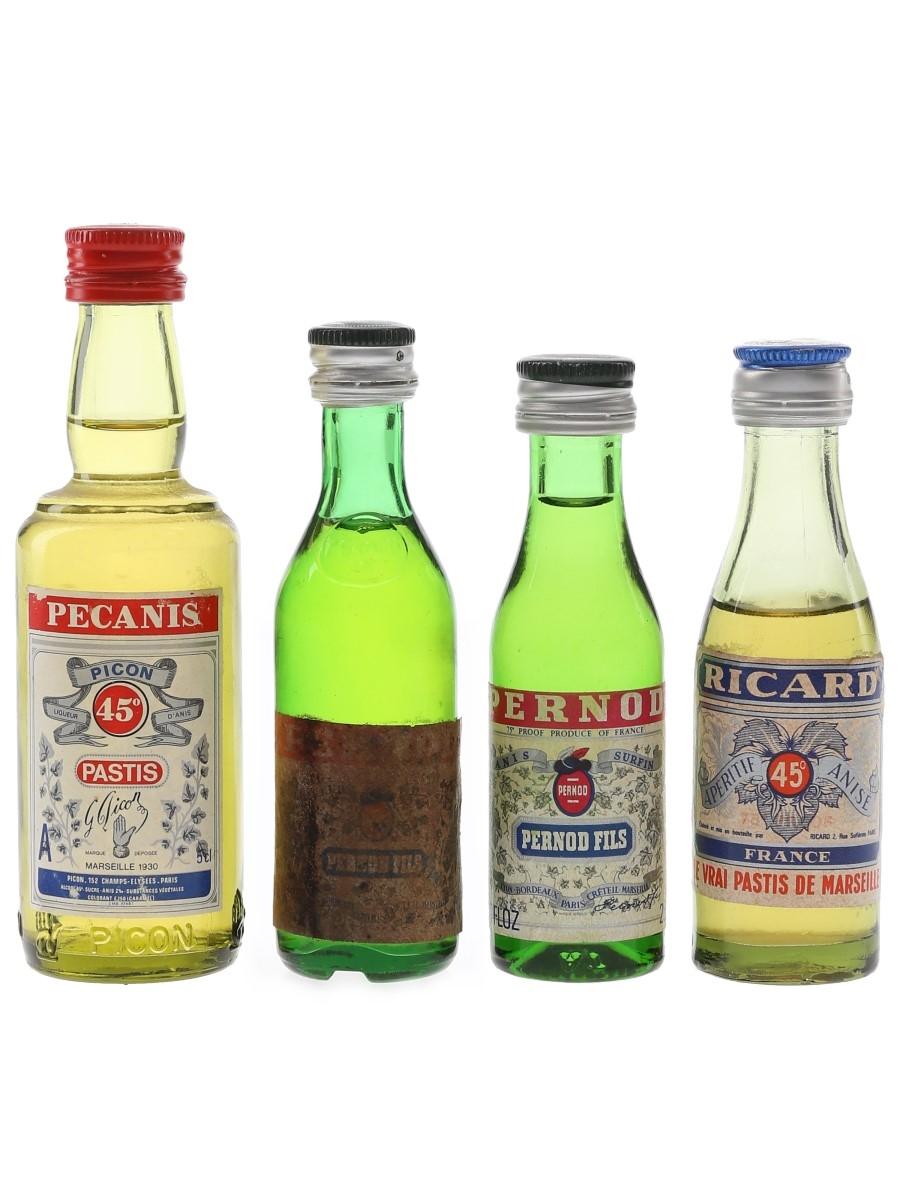 Pecanis, Pernod Fils & Ricard Bottled 1970s & 1980s 4 x 2cl-5cl