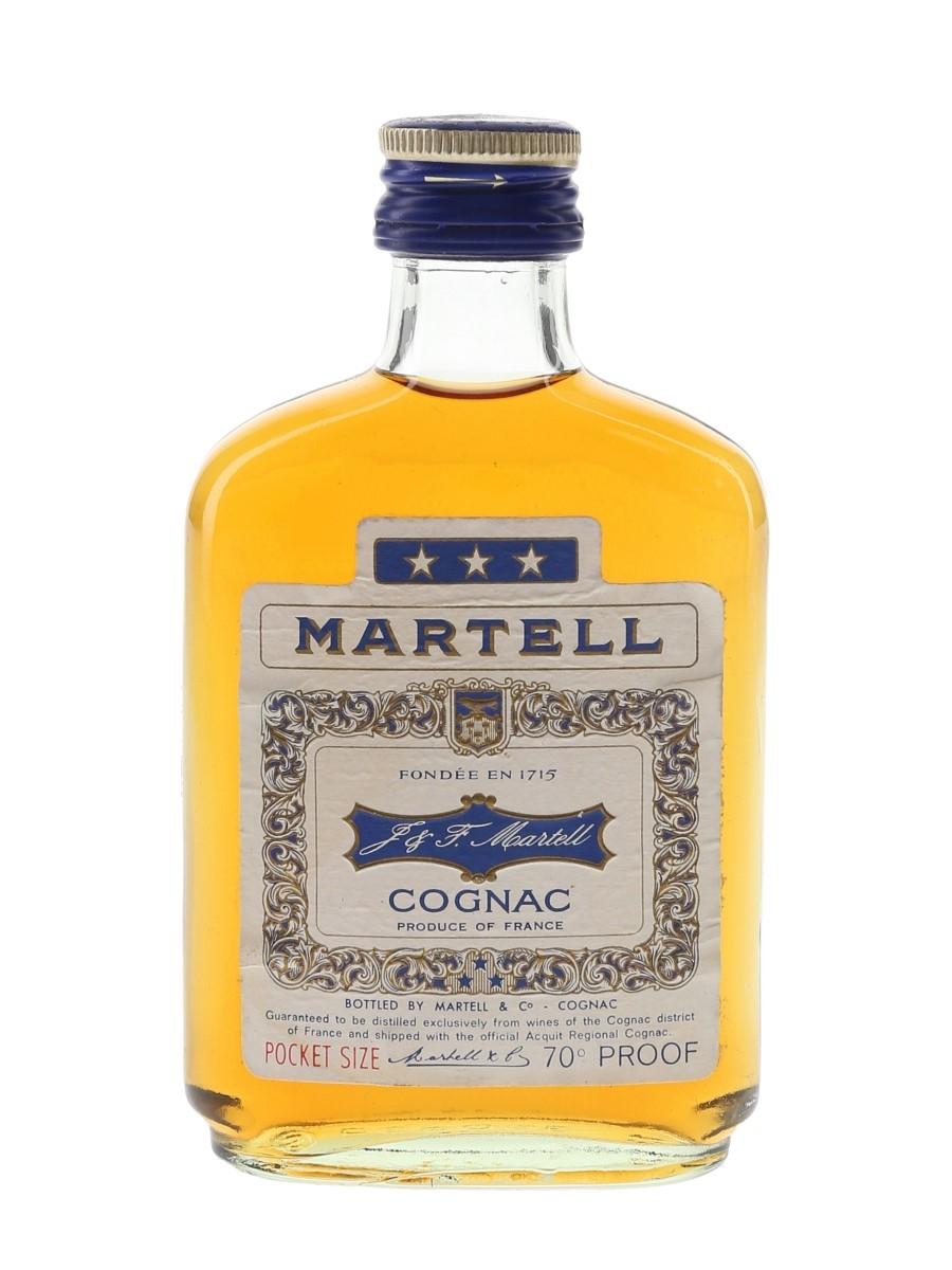 Martell 3 Star Pocket Size Bottled 1970s 10cl / 40%